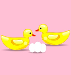 Duck and eggs vector image vector image