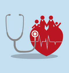 Family heart medical health care vector