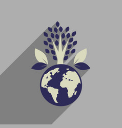 Flat web icon with long shadow earth plants vector