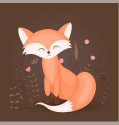 gift postcard with cartoon animal fox decorative vector image