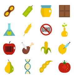 Gmo icons set in flat style vector