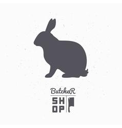 Hare silhouette Rabbit meat Butcher shop logo vector image