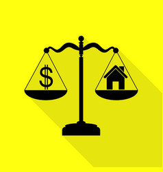 House and dollar symbol on scales black icon with vector