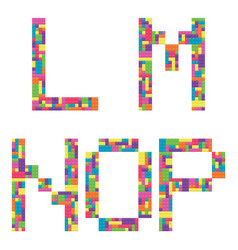l m n o p alphabet letters from children vector image