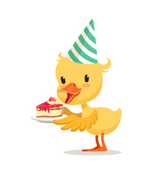 Little cartoon duckling in a party hat holding vector