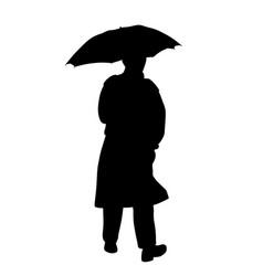 man in raincoat with umbrella vector image vector image