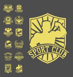 monochrome fitness emblem design element gym sport vector image vector image
