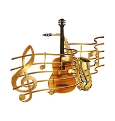 musical stave volume guitar and saxophone vector image vector image