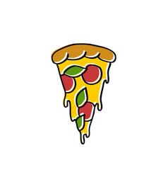 pizza doodle icon vector image vector image