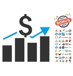 Sales bar chart icon with 2017 year bonus vector