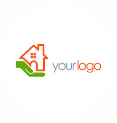 save house hand logo vector image