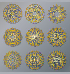 set of golden oriental lacy round patterns vector image vector image