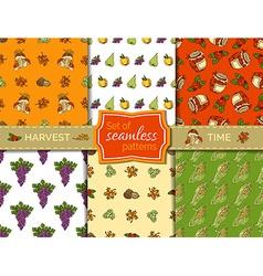 Set of seamless harvest patterns vector