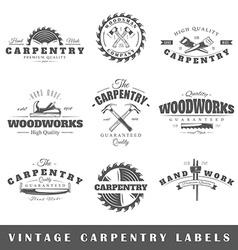 Set of vintage labels carpentry vector image vector image