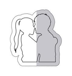 Sticker monochrome contour with half body couple vector