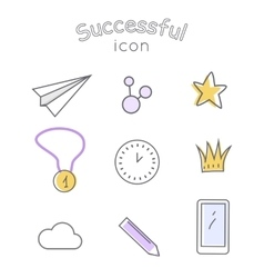 Successful icons set indispensable things vector