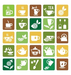 Tea time icons vector