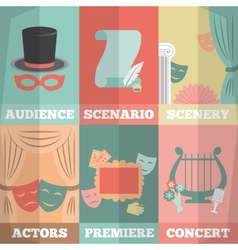 Theatre poster mini set vector