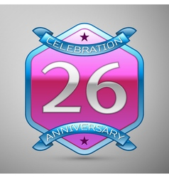Twenty six years anniversary celebration silver vector
