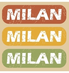 Vintage milan stamp set vector