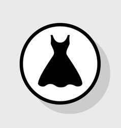 Woman dress sign flat black icon in white vector