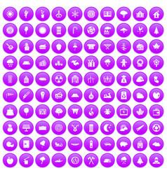 100 lumberjack icons set purple vector