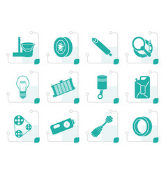 Stylized car parts and services icons vector