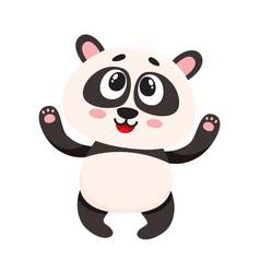 Cute and funny smiling baby panda character vector