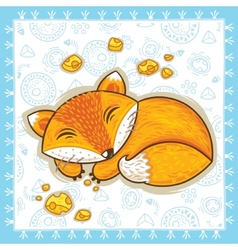 Print with sleeping cartoon fox vector