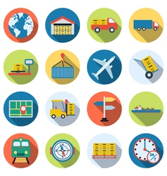 Logistic and transportation icons vector