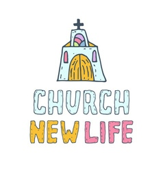 Hand drawn concept of church vector image
