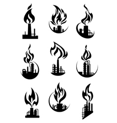 Black industrial chemical factory icons vector