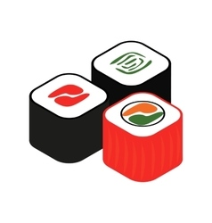 Sushi roll isometric 3d icon vector