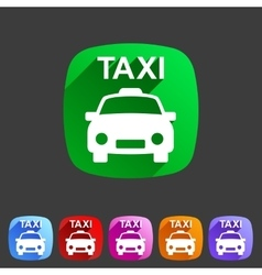 Taxi car icon flat web sign symbol logo label vector