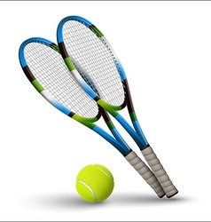 Tennis symbols rackets and ball isolated on white vector