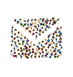 A group of people in a shape of envelope vector