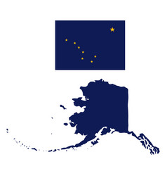 alaska flag and state map vector image