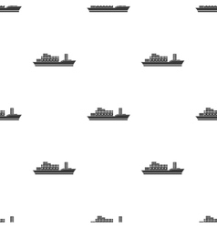 Cargo ship icon in black style isolated on white vector