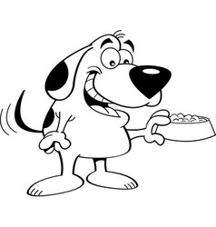 Cartoon dog holding a dog food dish vector image vector image