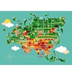 Cartoon map of Eurasia vector image vector image