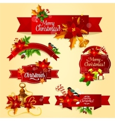 Christmas holiday red ribbon banner and label set vector image