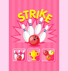 colorful bowling strike template vector image vector image