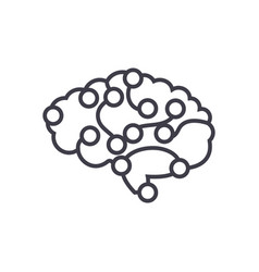 computer brain concept thin line icon vector image vector image