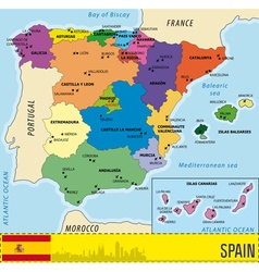 Detailed map of Spain with all regions and with ai vector image vector image