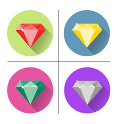 diamond icons set vector image vector image