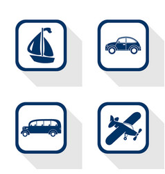 flat design icons travel set - car bus boat vector image vector image