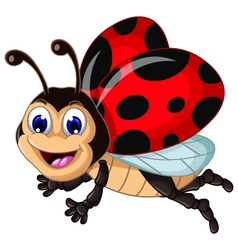 funny ladybugs flying cartoon for your design vector image