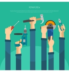 Hands With Tools vector image vector image