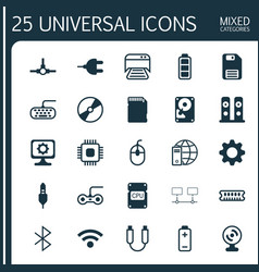 Hardware icons set collection of computer keypad vector