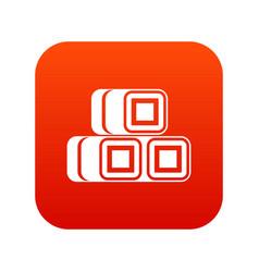 Hay bundles icon digital red vector